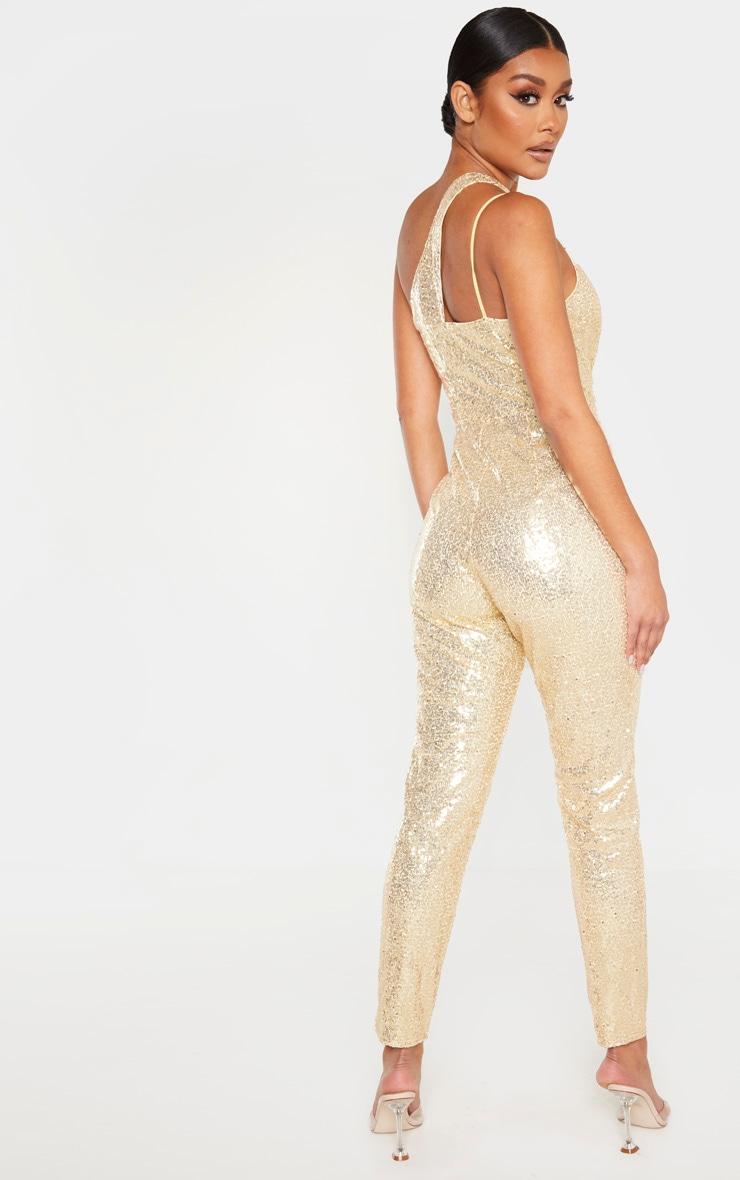 Gold Sequin Asymmetric Slim Leg Jumpsuit 2