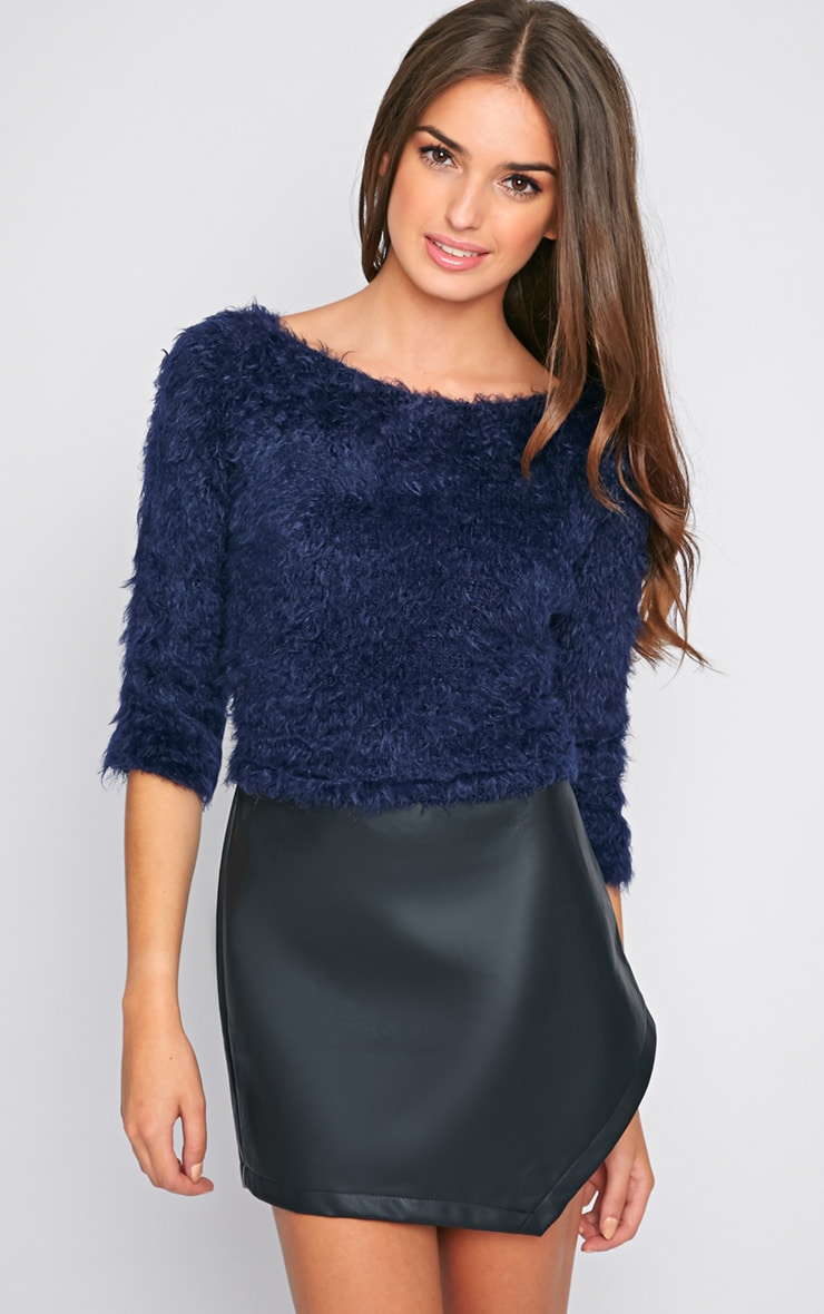 Jess Navy Fluffy Jumper 1