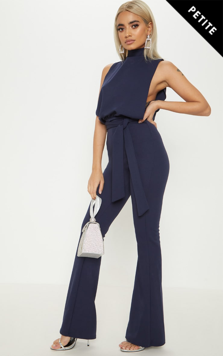 Petite Navy Scuba High Neck Tie Waist Jumpsuit