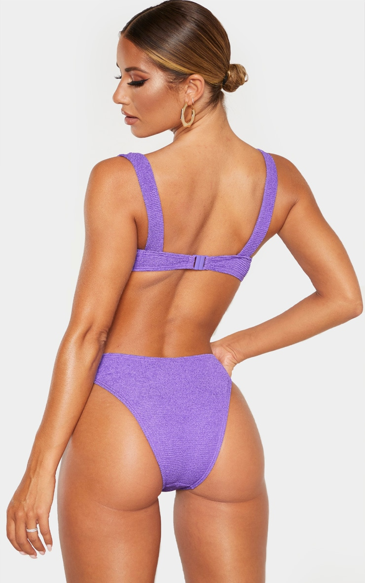 Purple Mini Crinkle Underwired Square Neck Bikini Top 2