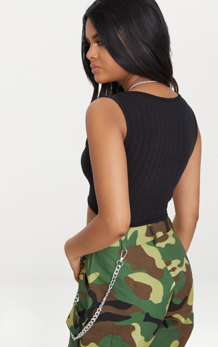 Petite Black Ribbed Square Neck Crop Top 2