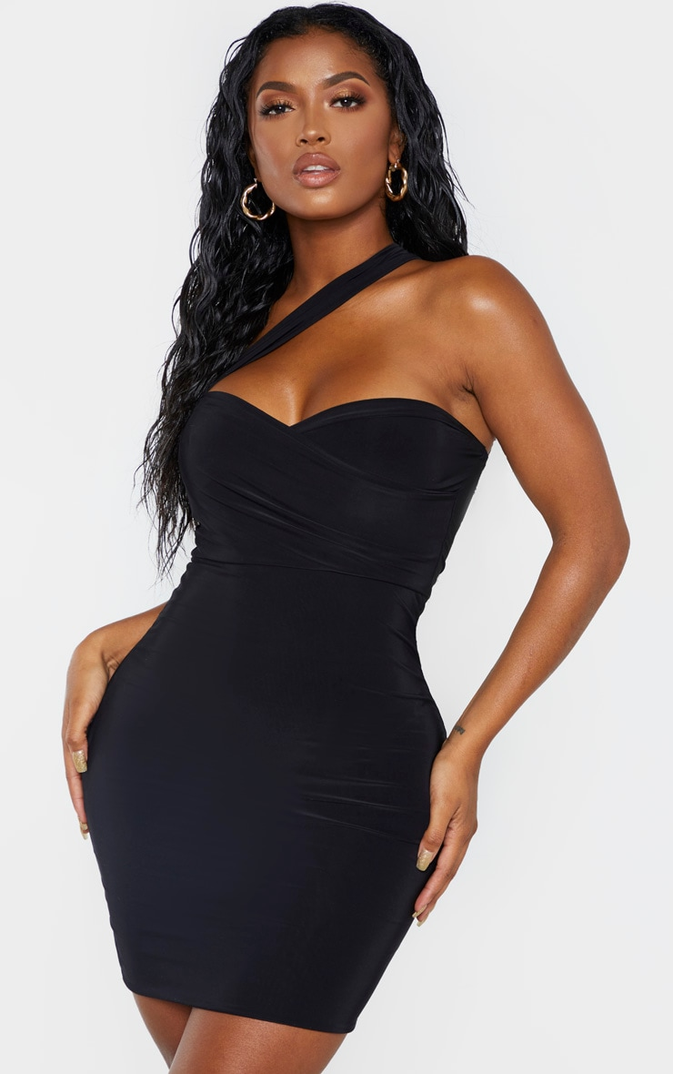 Shape Black Slinky One Shoulder Wrap Mini Dress 1