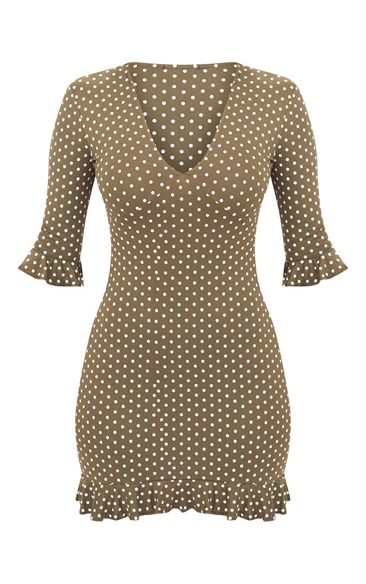 Khaki Polka Dot Frill Hem Shift Dress 3