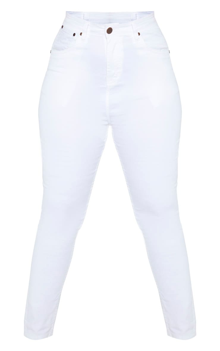 Plus White High Waisted Skinny Jean 3