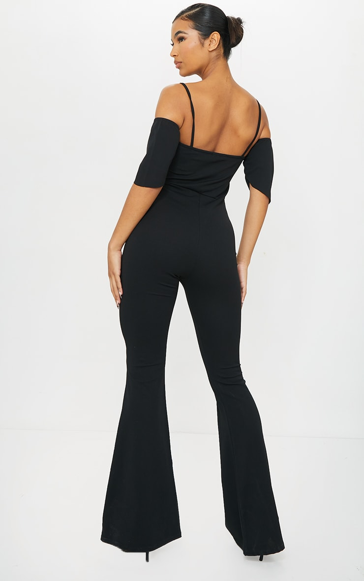 Black Ruched Mesh Binding Detail Off The Shoulder Jumpsuit 2