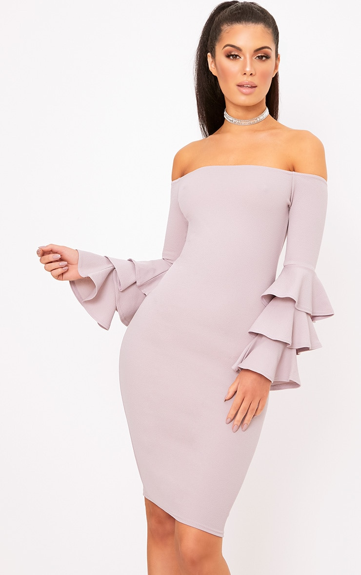 Lilac Grey  Bardot Ruffle Sleeve Midi Dress 1