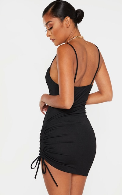 Black Cowl Neck Ruched Side Bodycon Dress
