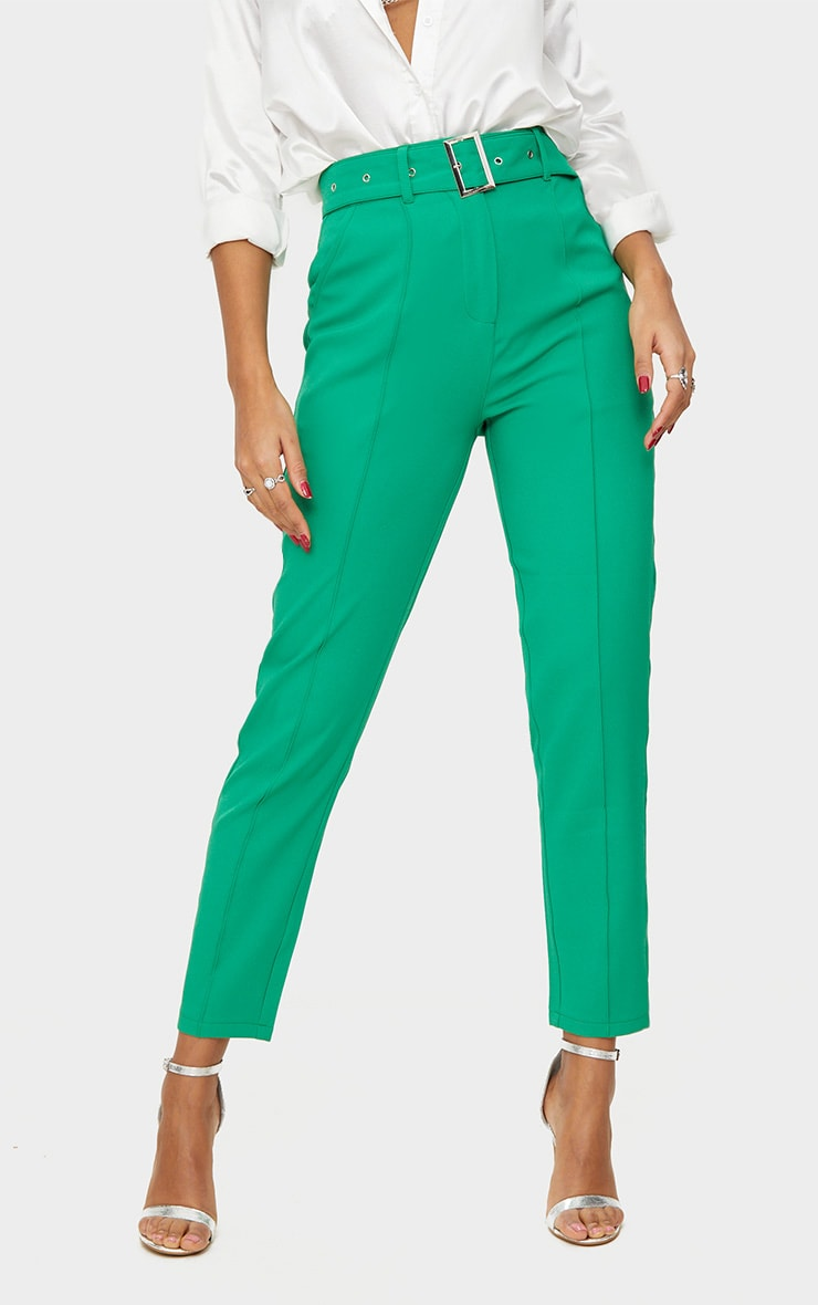 Bright Green Belted Tailored Trousers 2