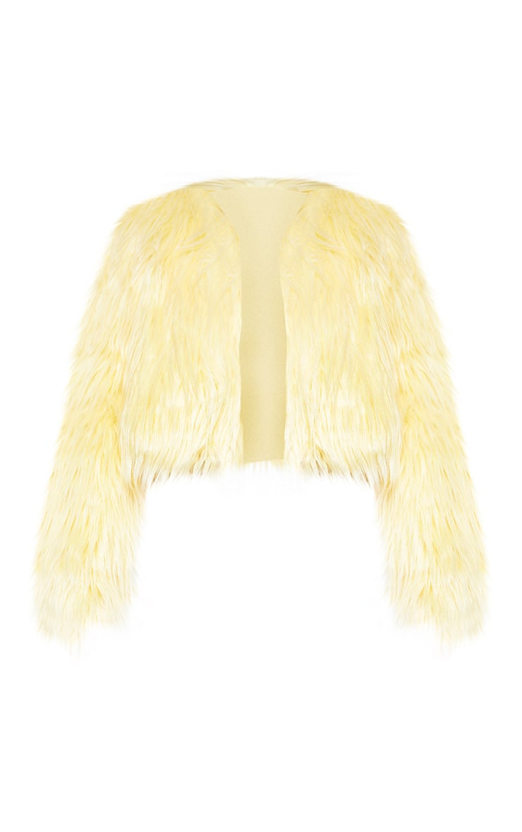 Yellow Cropped Shaggy Faux Fur Jacket  3