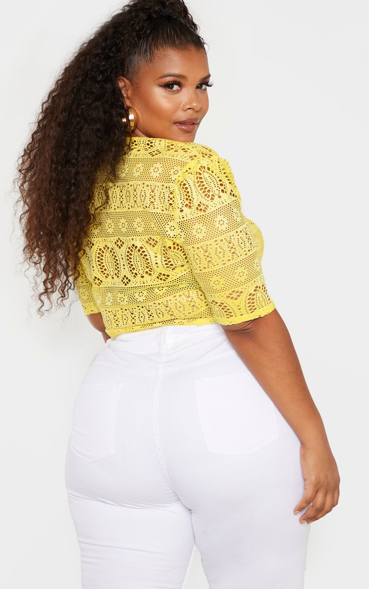 Plus Yellow Crochet Square Neck Crop Top 2