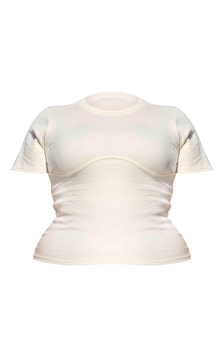 Plus Cream Binding Detail Ribbed Knit T-Shirt 6
