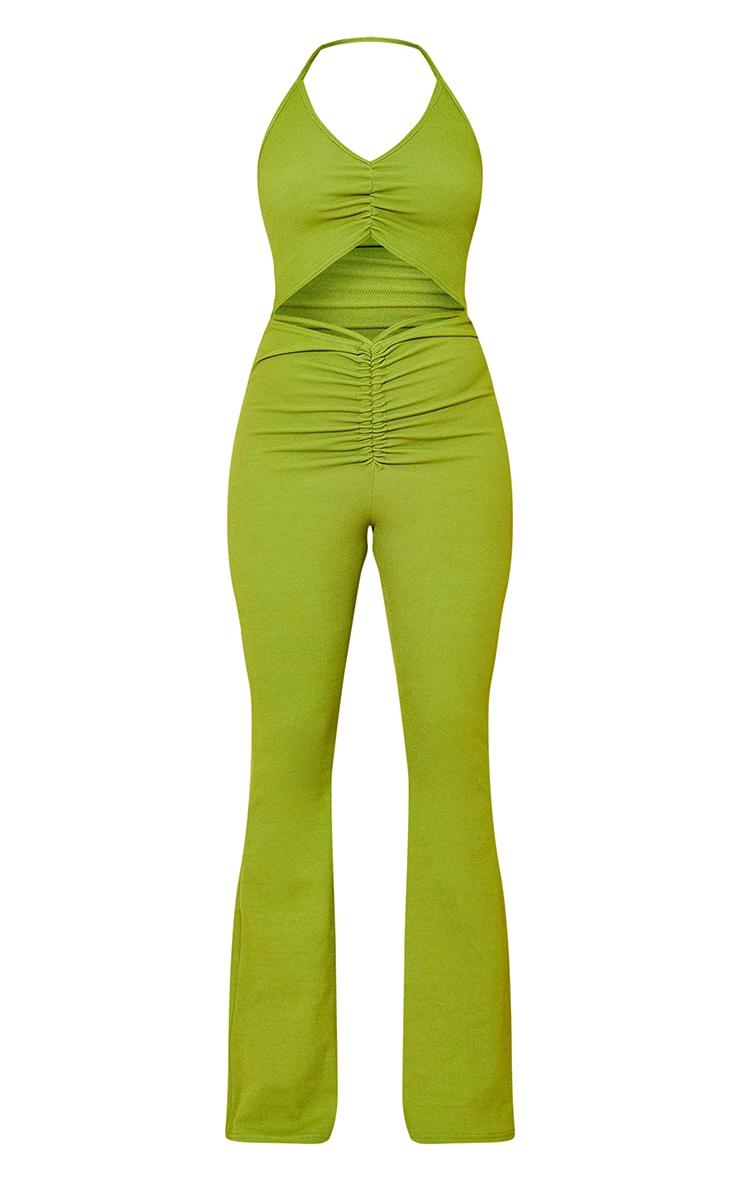 Olive Ruched Cut Out Strap Detail Jumpsuit 5