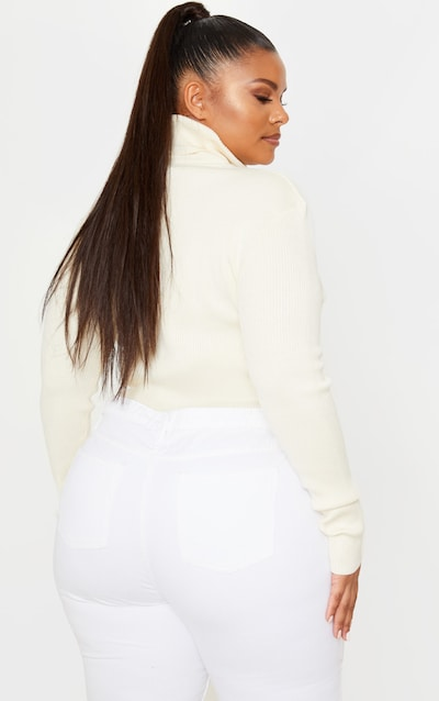 PRETTYLITTLETHING Plus Cream Ribbed Jumper