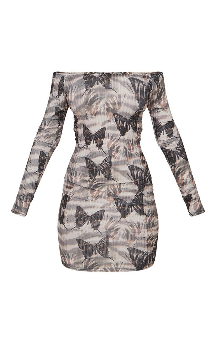 Beige Zebra Butterfly Ribbed Long Sleeve Bardot Bodycon Dress 5