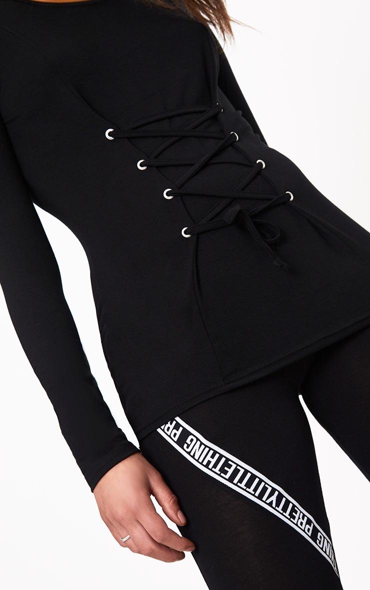 Black Lace Up Corset Long Sleeve T Shirt 5