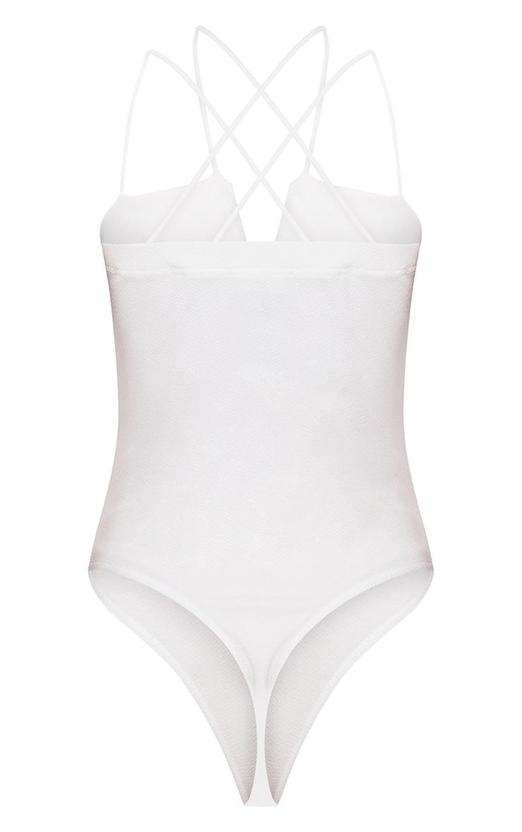 White Strappy V Bar Thong Bodysuit  4