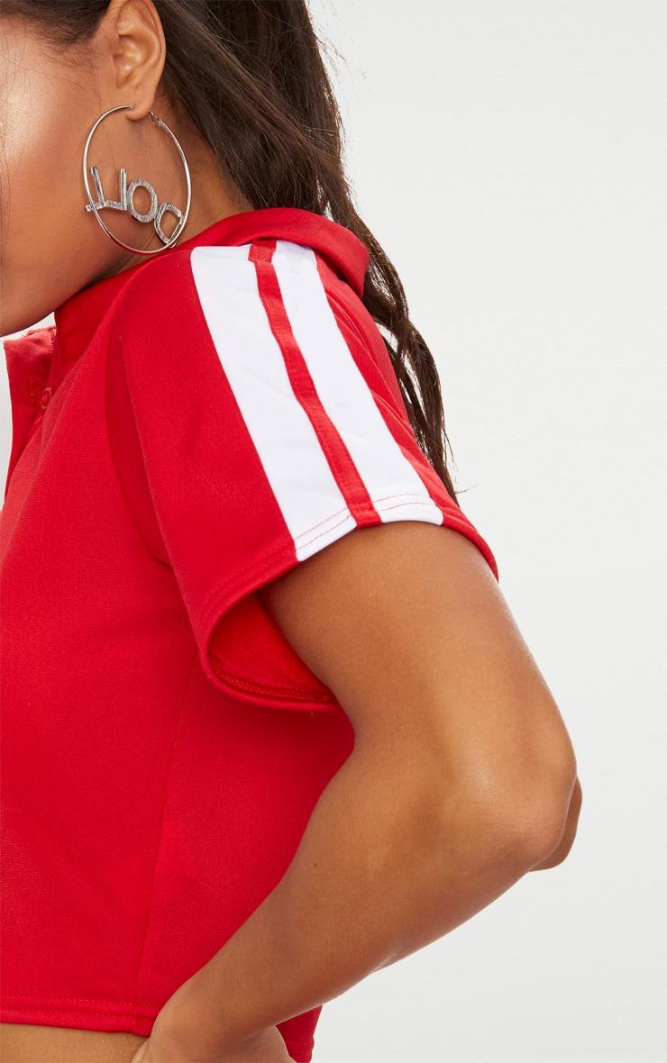 Red Button Front Sport Stripe Crop Top  5
