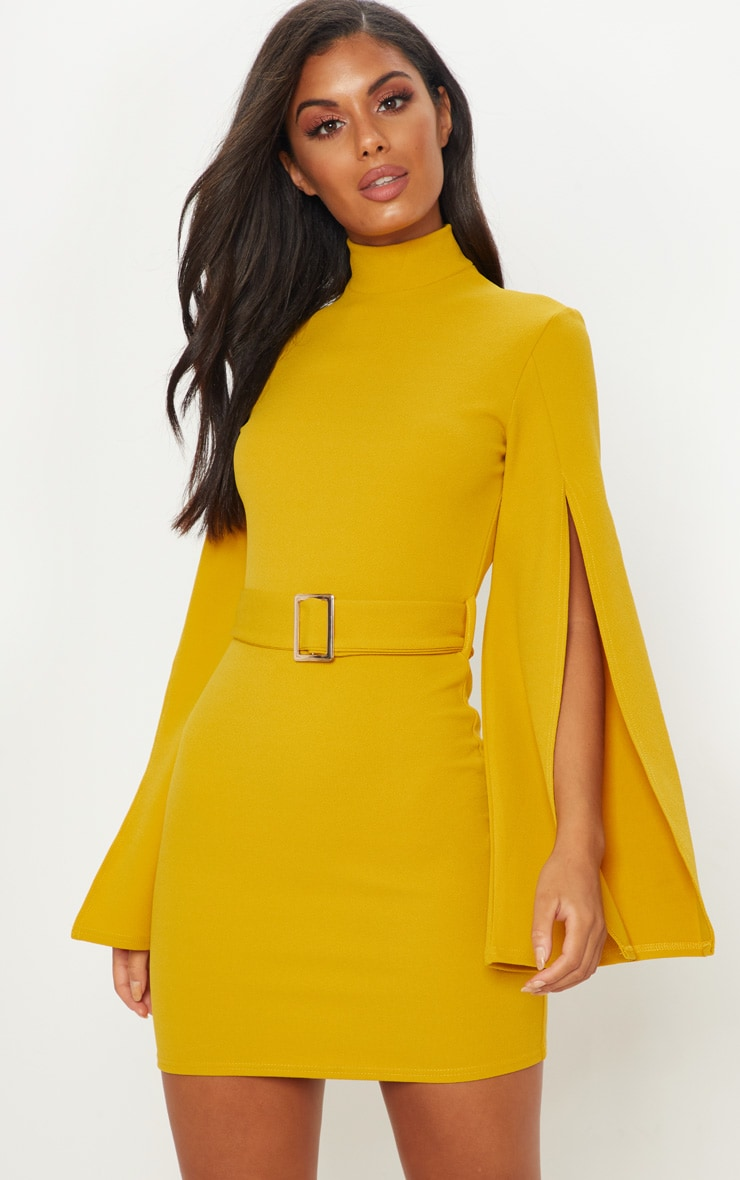 Mustard High Neck Flare Sleeve Belted Bodycon Dress
