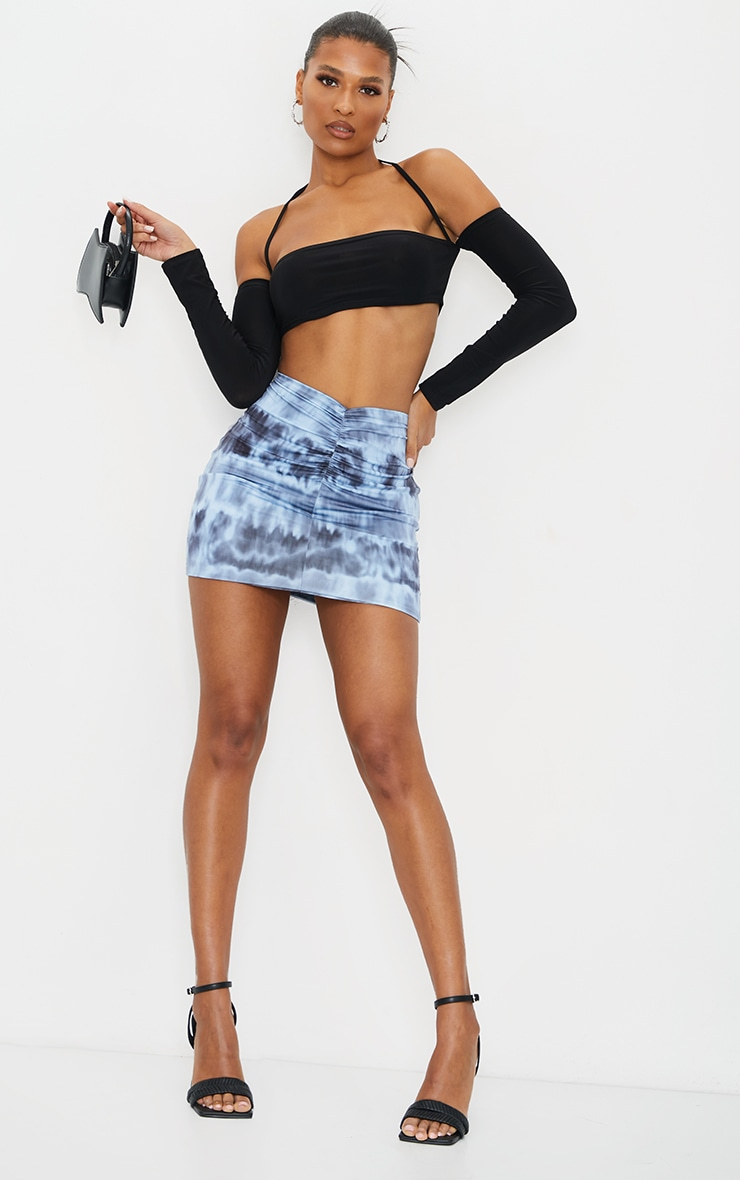 Navy Tie Dye Slinky Ruched Front Mini Skirt 1