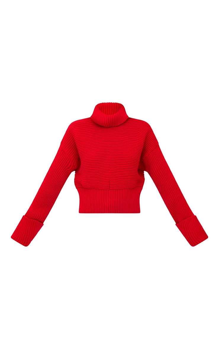 Red Extreme Sleeve Roll Neck Jumper 3