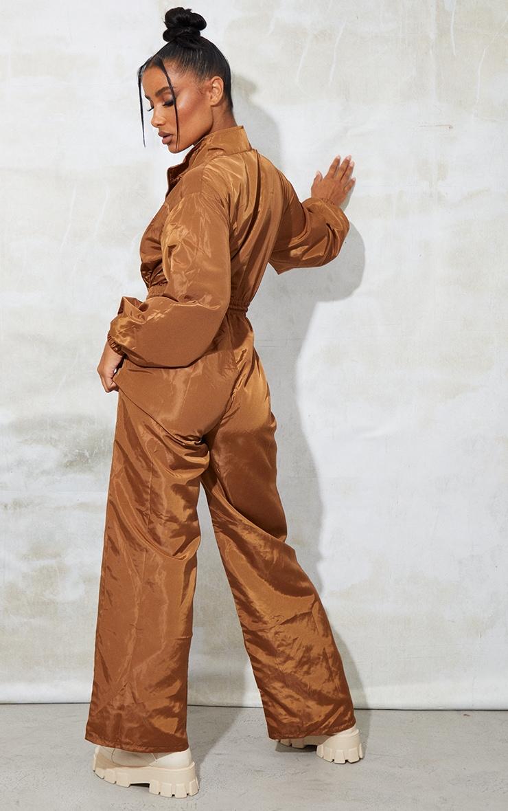 PRETTYLITTLETHING Camel Shell Wide Leg Jumpsuit 2