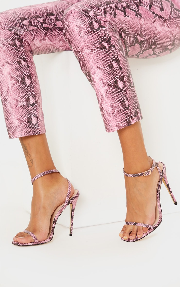 Pink Snake Square Toe Strappy Sandal 3