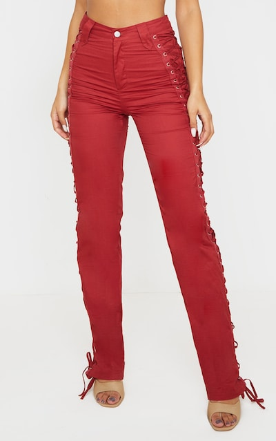 Burgundy Lace Woven Eyelet Lace Up Detail Straight Leg Trouser