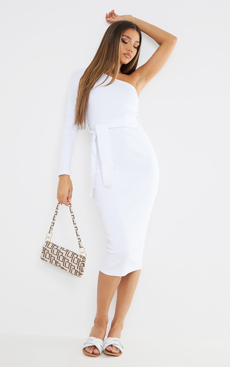 White Thick Rib One Shoulder Tie Waist Midi Dress 1