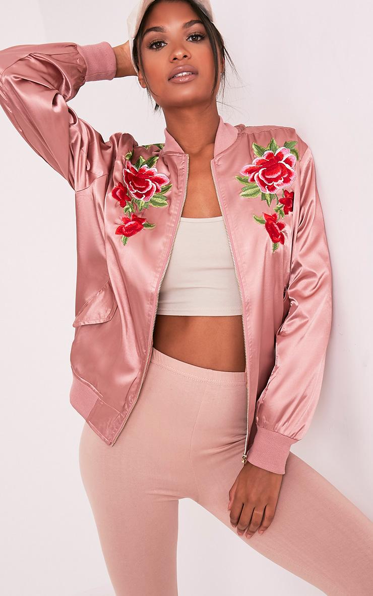 Babita Rose Satin Floral Applique Bomber Jacket 1