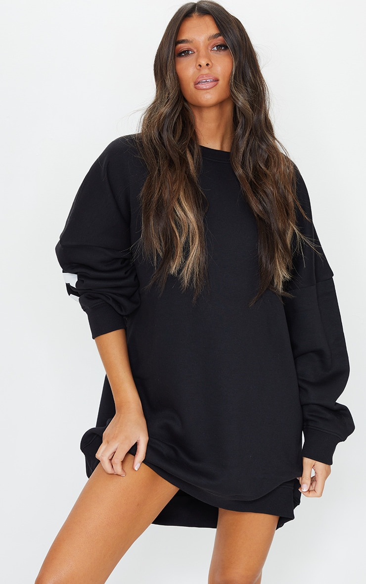 Black Buffalo New York Slogan Sweat Jumper Dress 2
