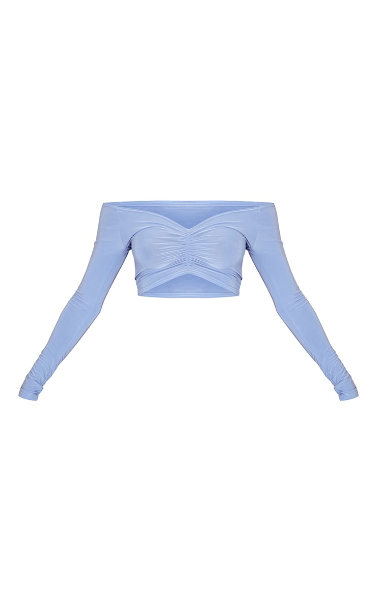 Powder Blue Slinky Ruched Front Long Sleeve Crop Top  5
