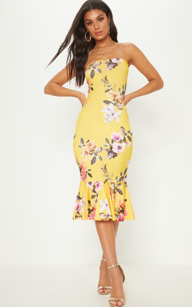 Bright Yellow Floral Print Bandeau Fishtail Midi Dress 1