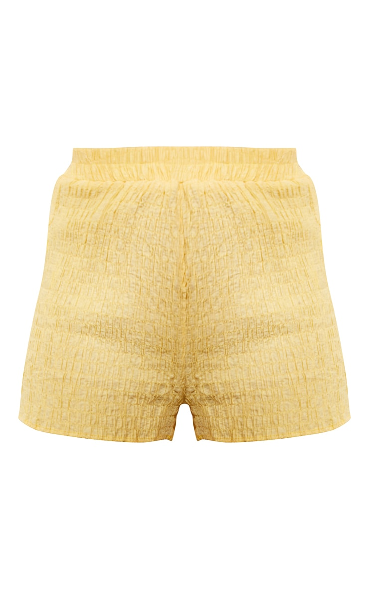 Lemon Shirred Crinkle Beach Shorts 6