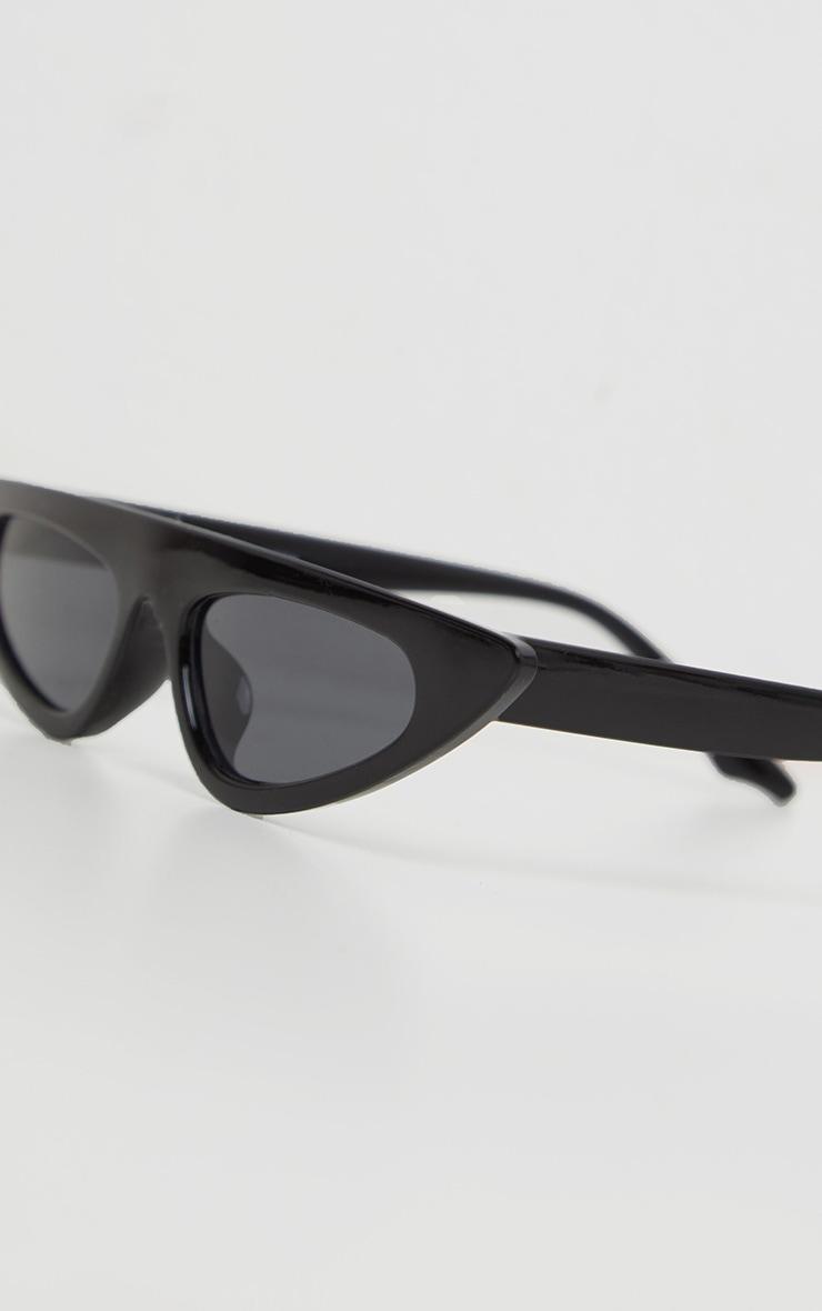 Black Flat Top Slim Cateye Sunglasses  3