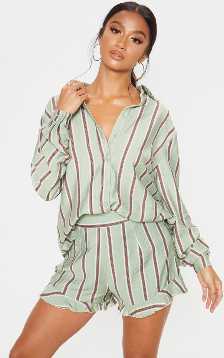 Petite Sage Green Stripe Frill Hem Short  1