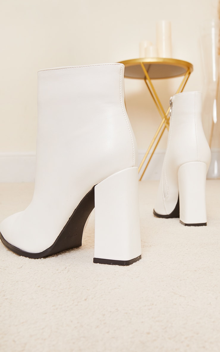 White Wide Fit Point Block Heel Ankle Boots 3