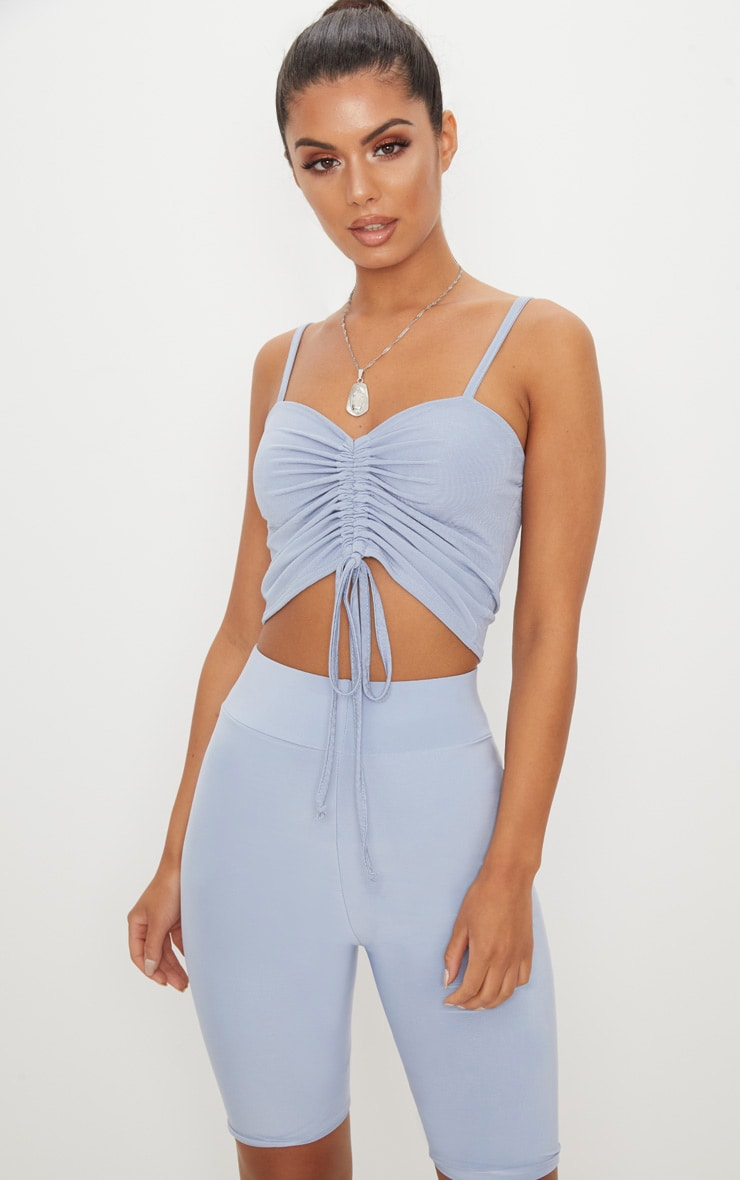 Baby Blue Ruched Front Strappy Crop Top 1