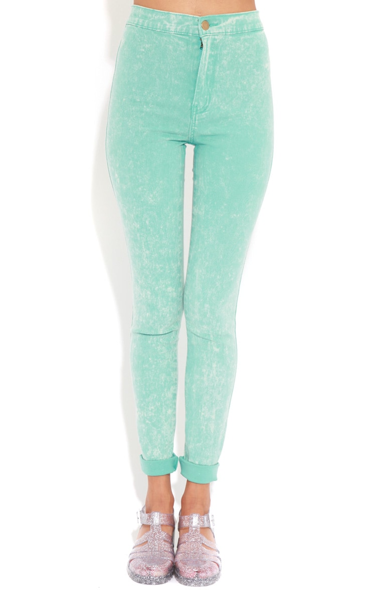 Annie Mint Acid Wash Skinny Jeans 4