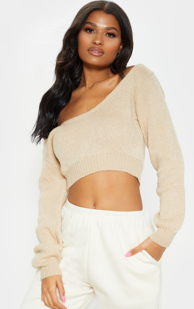 Stone V Neck Off Shoulder Soft Knitted Crop Jumper 1