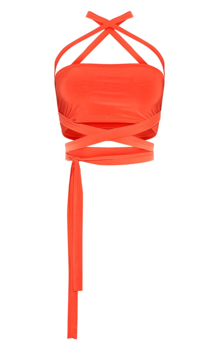 Bright Orange Slinky Tie Detail Bandeau Top 3