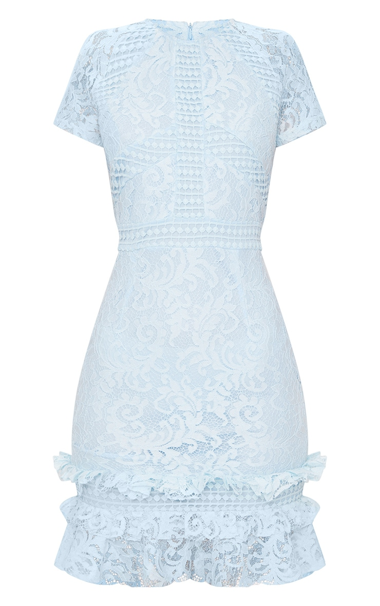 Dusty Blue Frill Hem Lace Bodycon Dress 3
