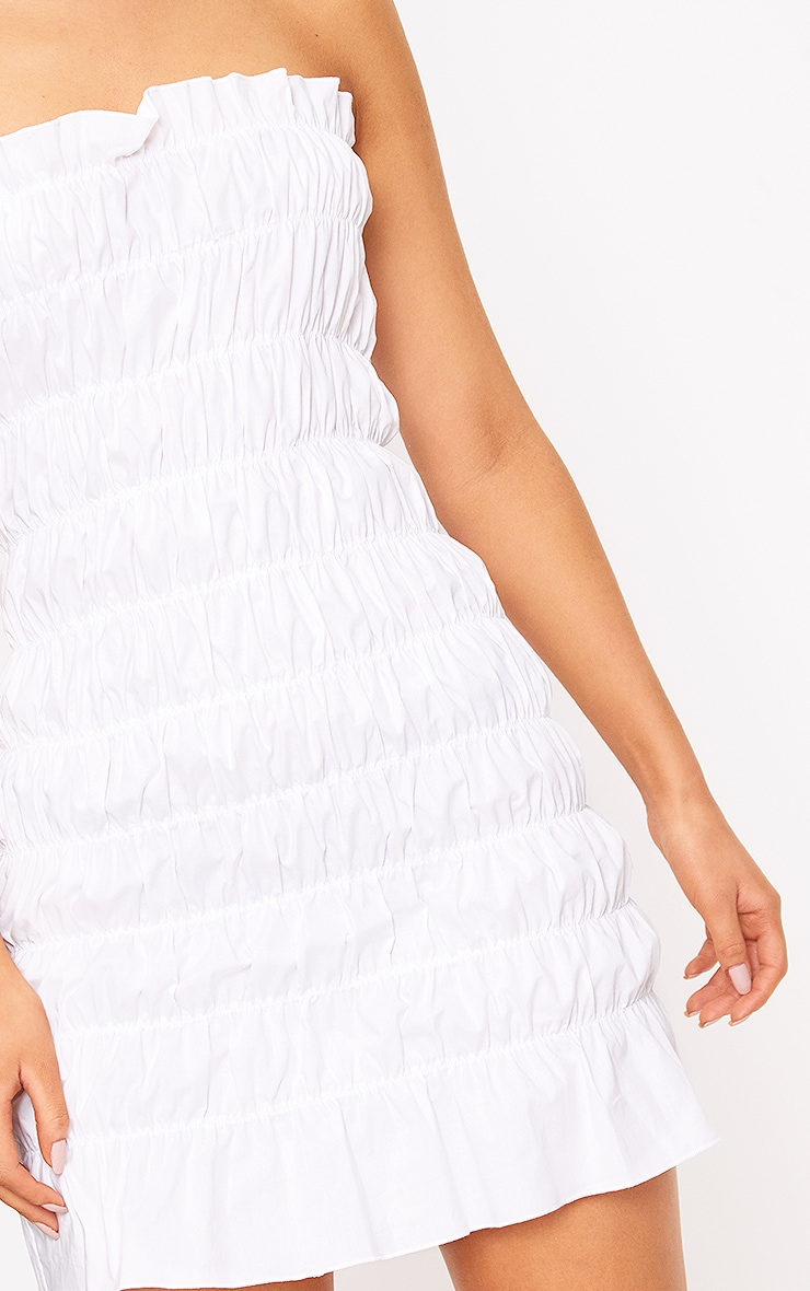 White Cotton Ruched Bodycon Dress 4