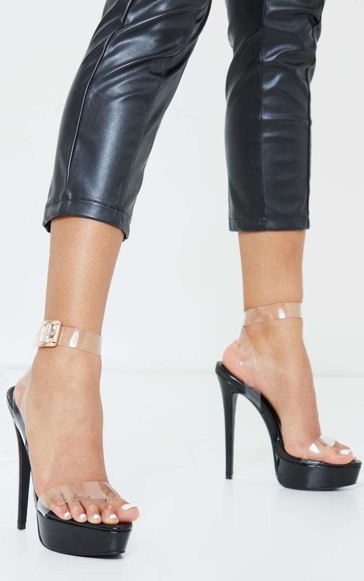 Black Patent Pu Platform Clear Strap High Heels 1