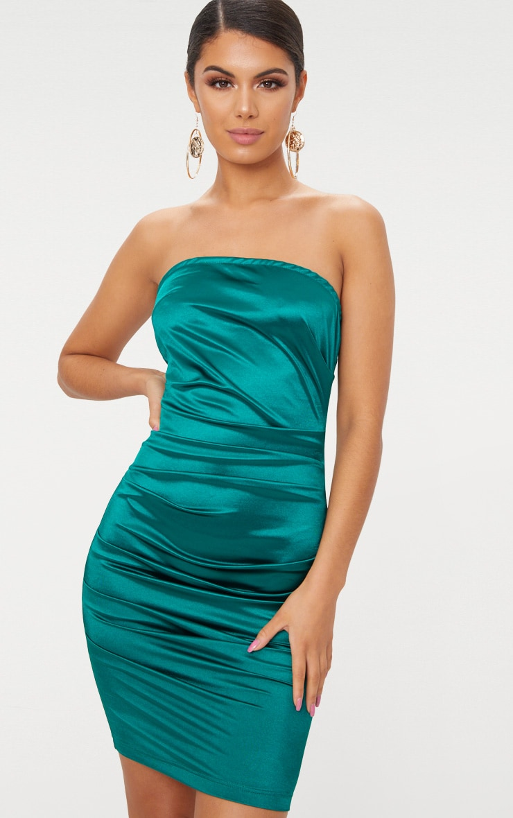 Emerald Green Bandeau Ruched Satin Bodycon Dress  1