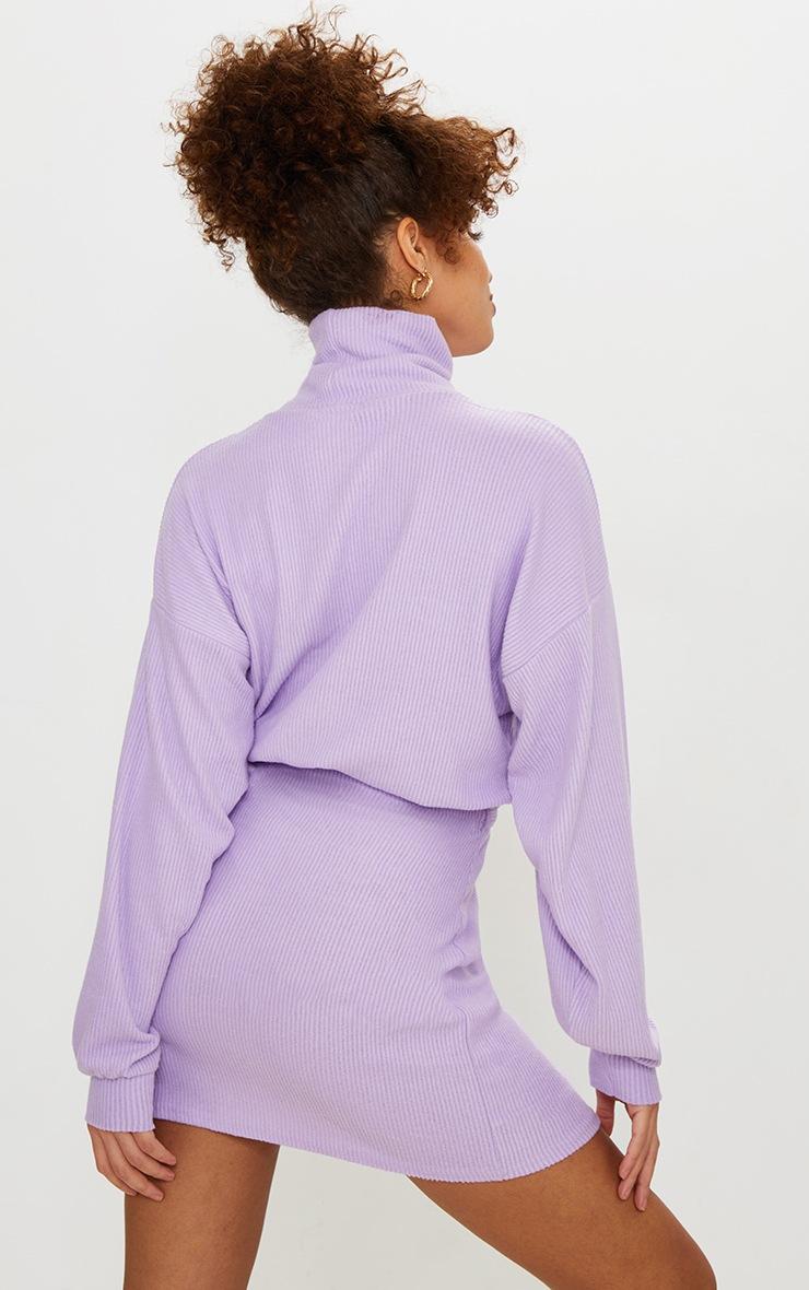 Lilac Brushed Rib Roll Neck Elastic Hem Sweater 2