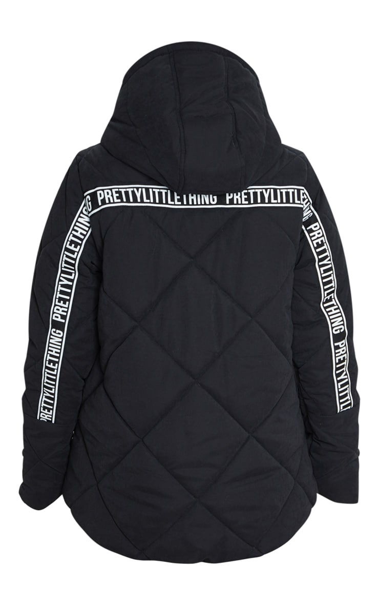 PRETTYLITTLETHING Black Peach Skin Diamond Quilted Oversized Puffer 6