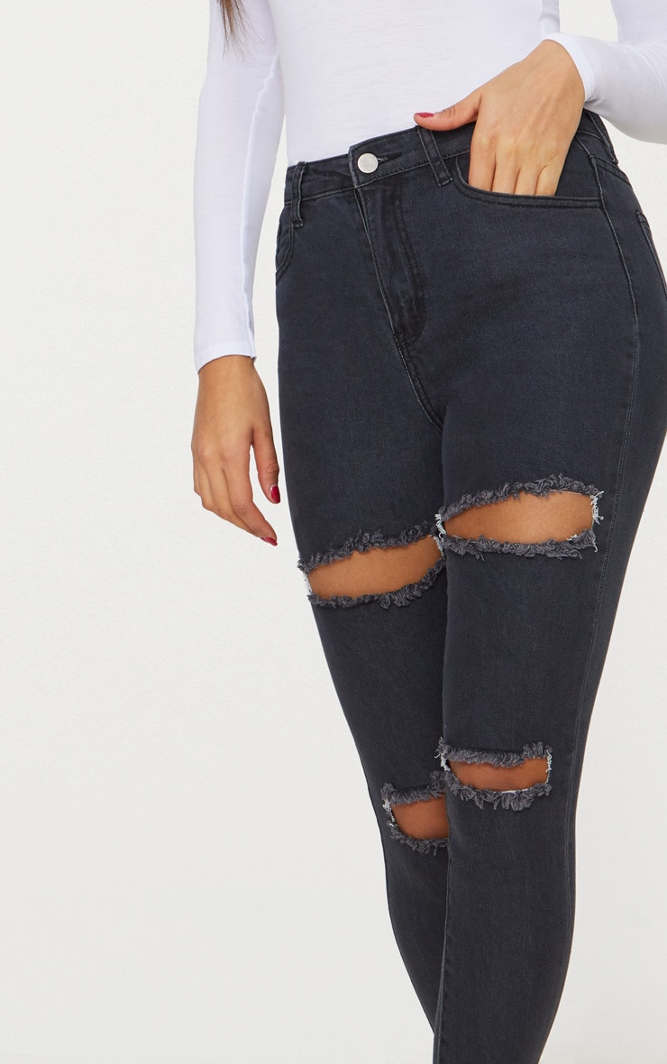 c8ff02814cc Washed Black Double Rip High Waisted 5 Pocket Skinny Jean image 5
