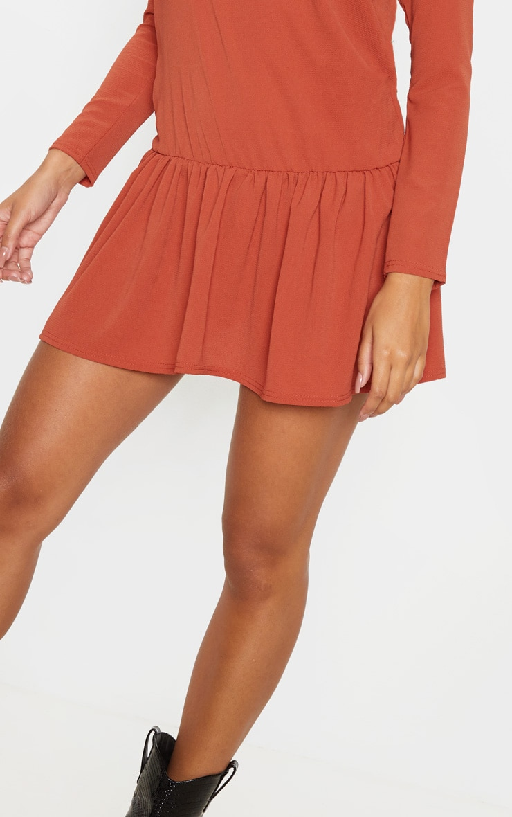 Rust Long Sleeve Frill Hem Shift Dress 5