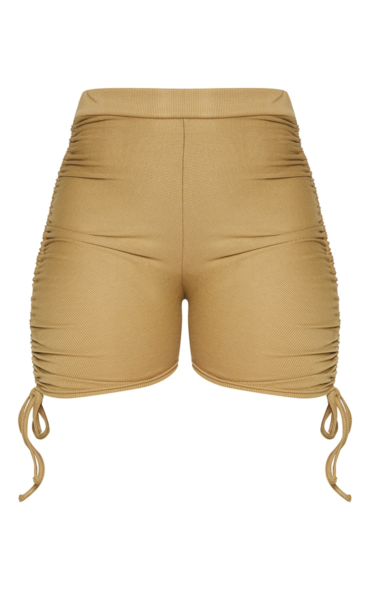 Shape Olive Rib Ruched Side Bike Shorts 6