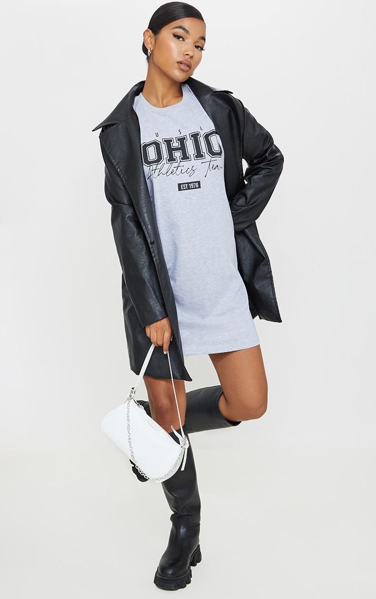 Grey Marl OHIO USA Graphic Oversized T Shirt Dress 3